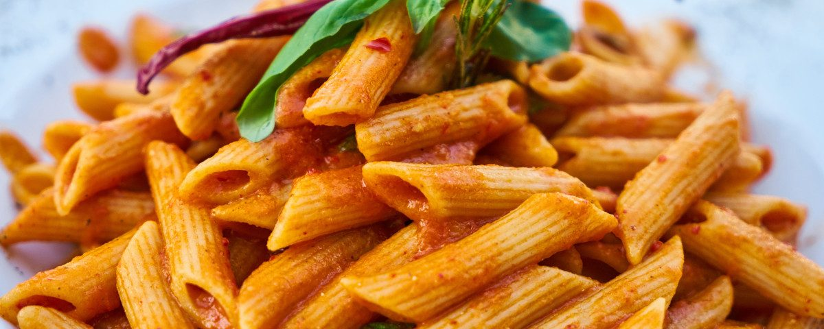 An image of a basic pasta meal